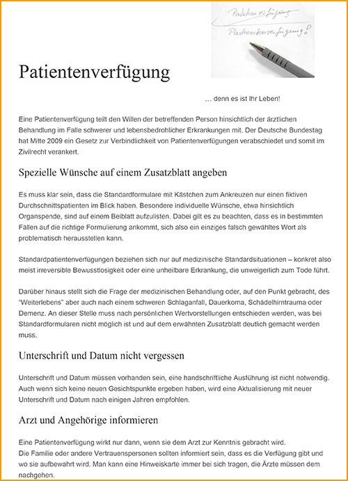 in einer patientenverfgung wird festgelegt wie man behandelt werden mchte wenn man sich nicht mehr selbst dazu uern kann datei am bildschirm - Patientenverfugung Beispiel